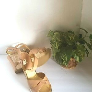 Audrey Brooke Nude Leather Strappy Wedge He